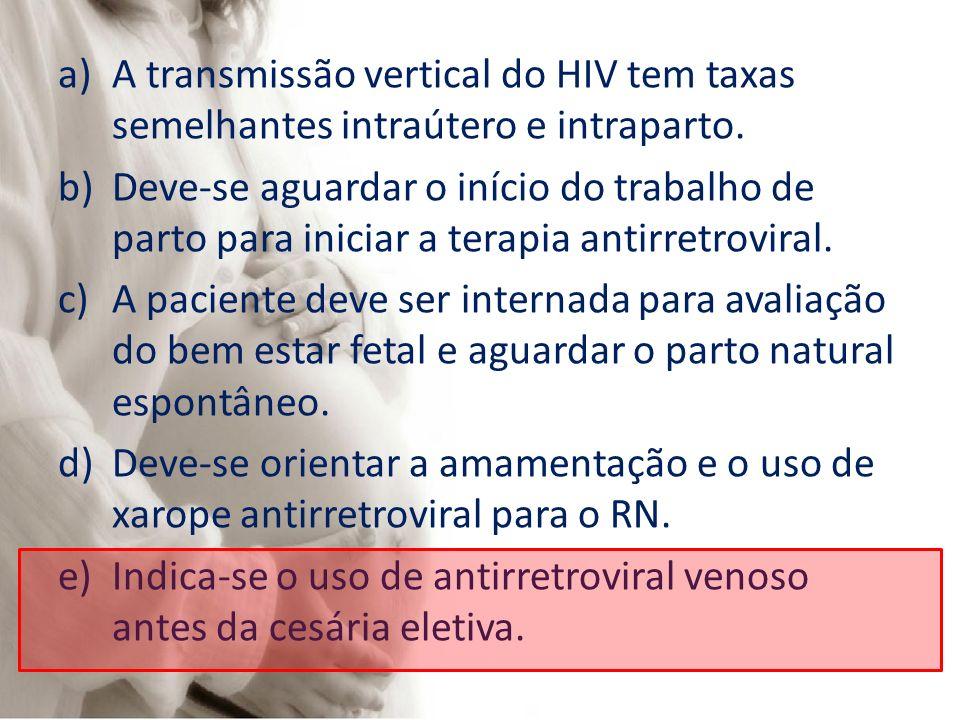 A transmissão vertical do HIV tem taxas semelhantes intraútero e intraparto.