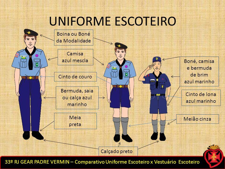 UNIFORME ESCOTEIRO Boina ou Boné da Modalidade Camisa azul mescla