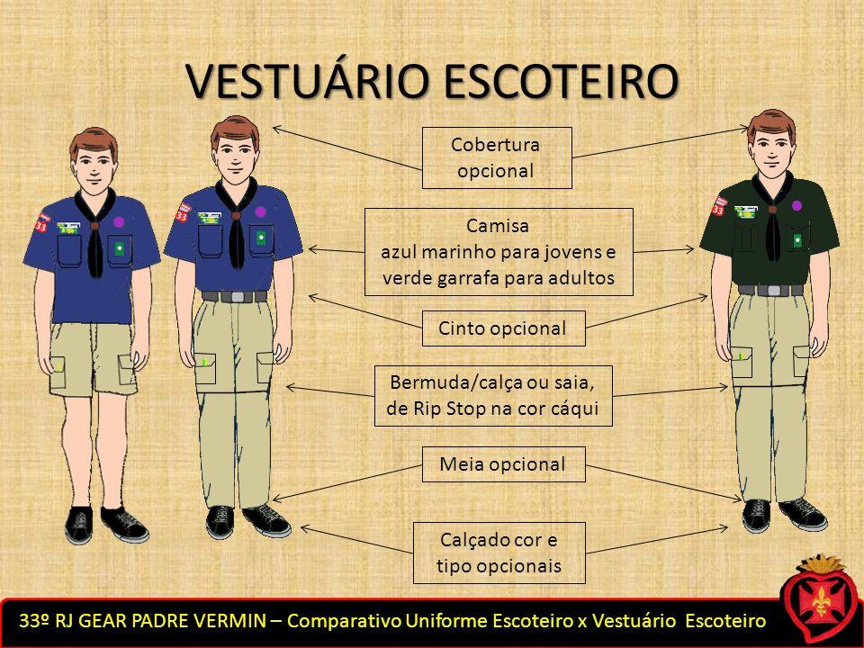 VESTUÁRIO ESCOTEIRO Cobertura opcional Camisa