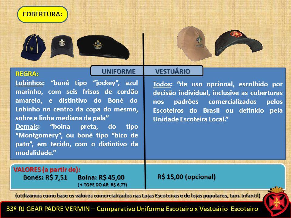 COBERTURA: UNIFORME VESTUÁRIO REGRA: