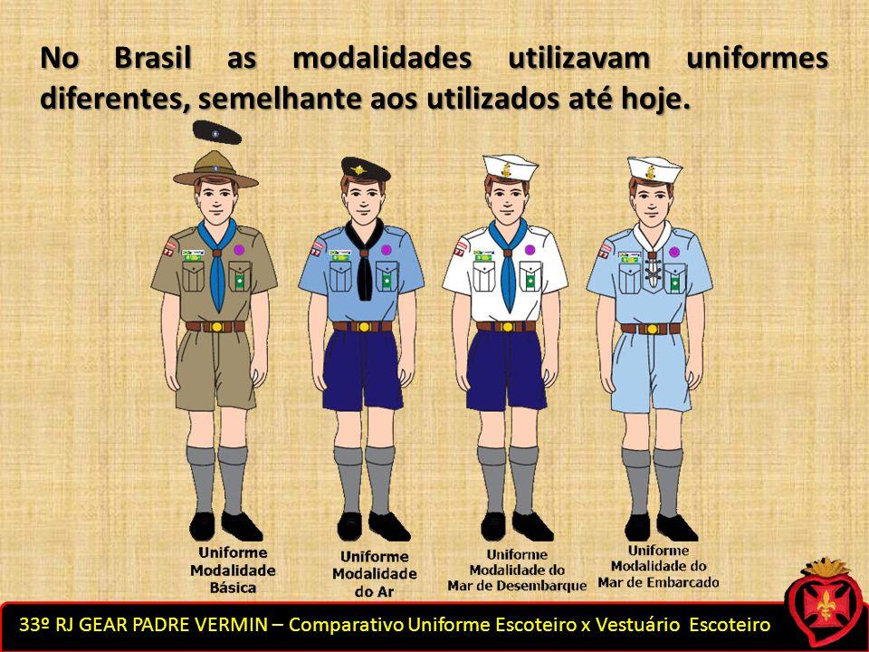 No Brasil as modalidades utilizavam uniformes diferentes, semelhante aos utilizados até hoje.
