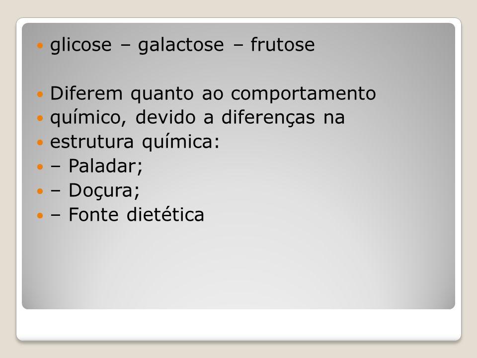 glicose – galactose – frutose