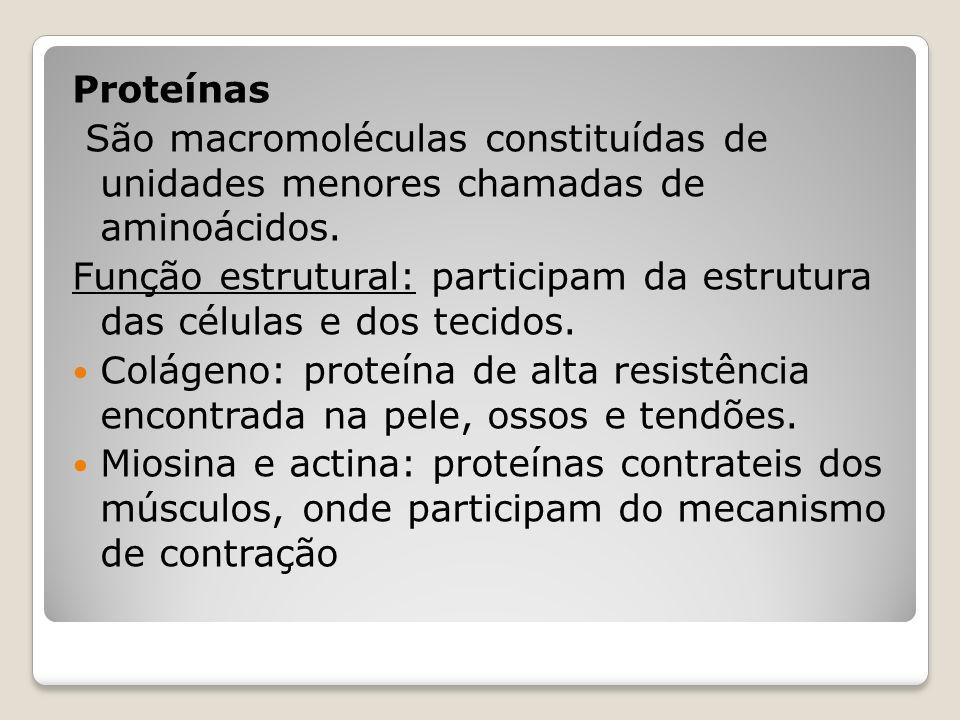 Proteínas São macromoléculas constituídas de unidades menores chamadas de aminoácidos.