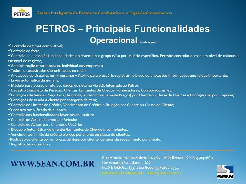 PETROS – Principais Funcionalidades Operacional (Continuação)