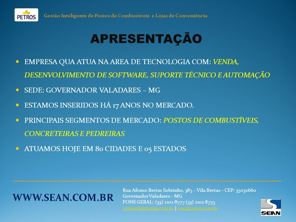 APRESENTAÇÃO WWW.SEAN.COM.BR