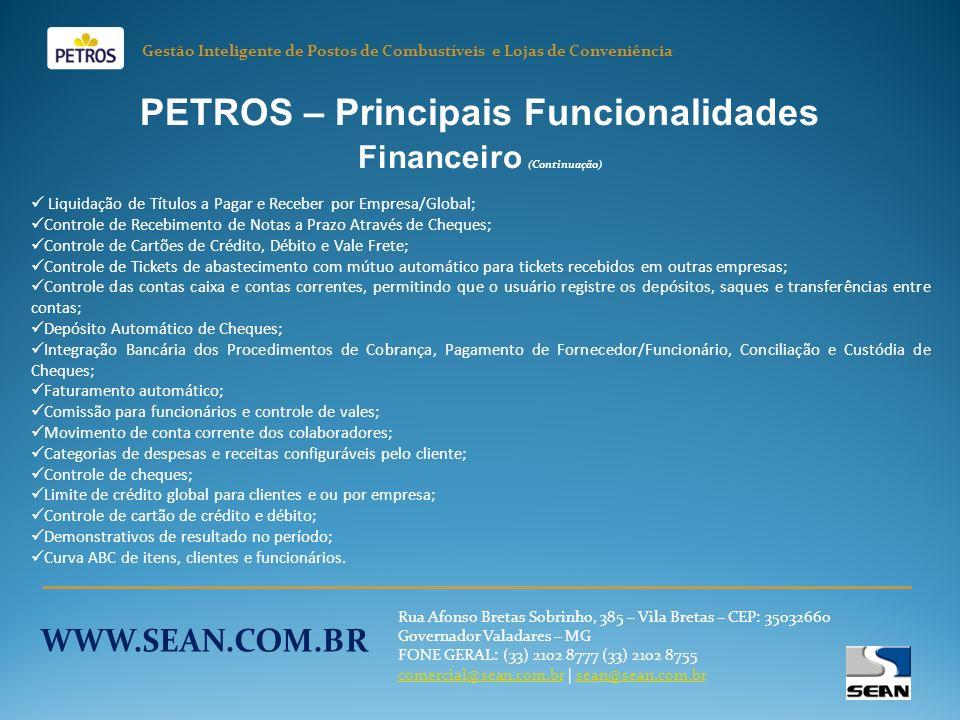 PETROS – Principais Funcionalidades Financeiro (Continuação)