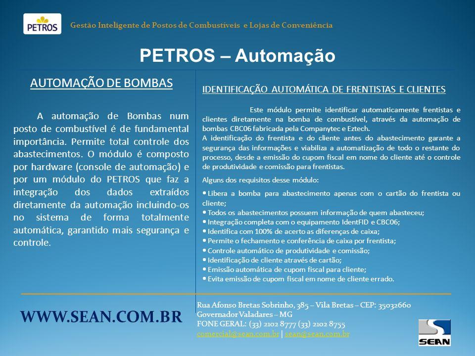 PETROS – Automação WWW.SEAN.COM.BR AUTOMAÇÃO DE BOMBAS