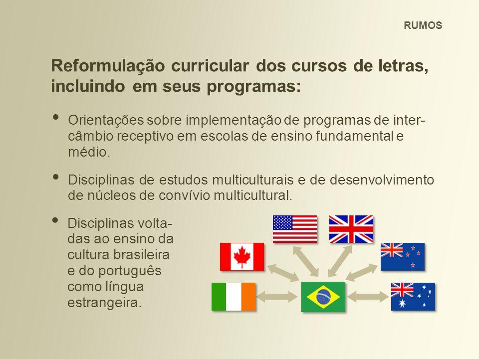 RUMOS Reformulação curricular dos cursos de letras, incluindo em seus programas: