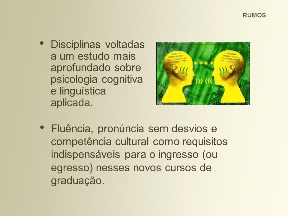 RUMOS Disciplinas voltadas a um estudo mais aprofundado sobre psicologia cognitiva e linguística aplicada.