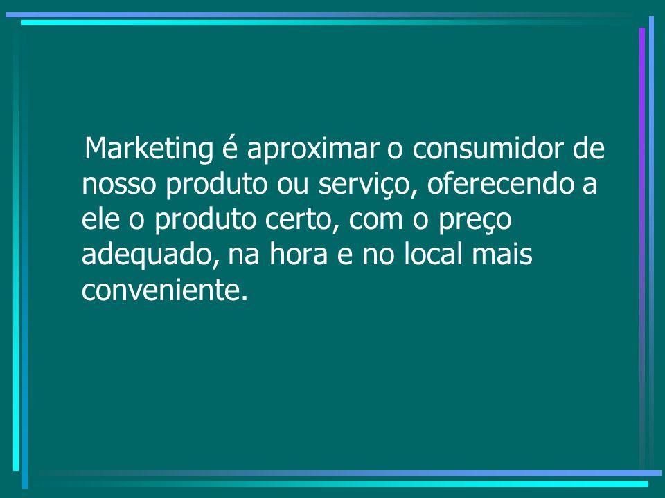 Marketing é aproximar o consumidor de nosso produto ou serviço, oferecendo a ele o produto certo, com o preço adequado, na hora e no local mais conveniente.
