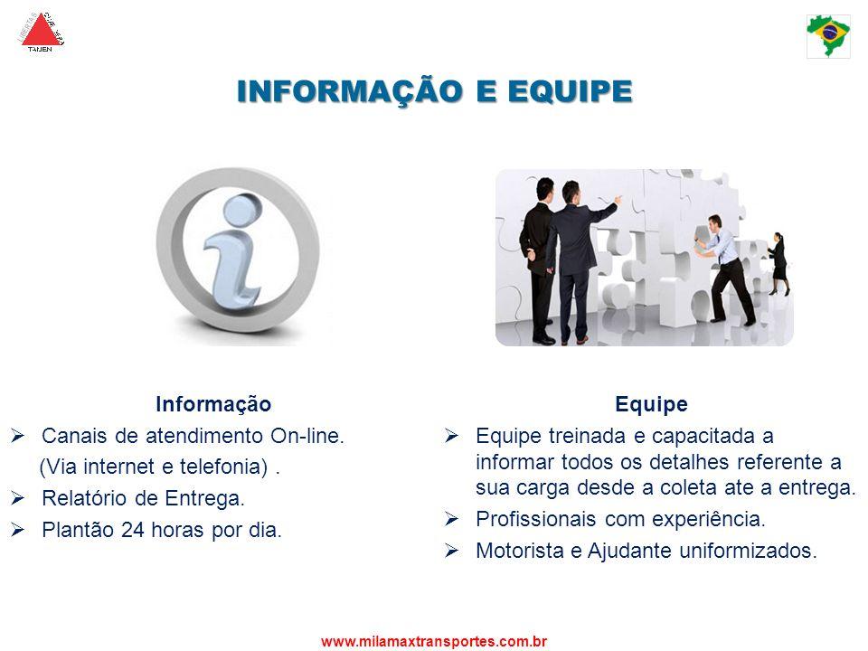 INFORMAÇÃO E EQUIPE Informação Canais de atendimento On-line.