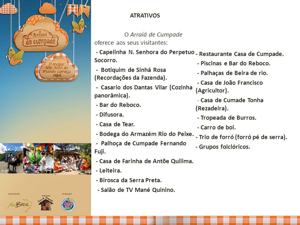 ATRATIVOS O Arraiá de Cumpade oferece aos seus visitantes: - Capelinha N. Senhora do Perpetuo Socorro.