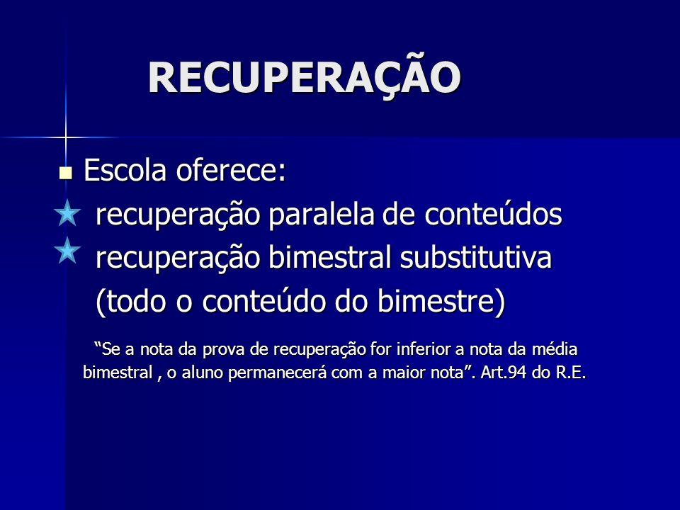 RECUPERAÇÃO Escola oferece: recuperação paralela de conteúdos