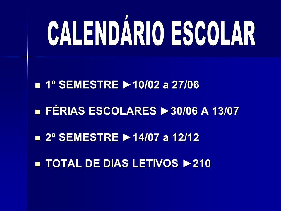 CALENDÁRIO ESCOLAR 1º SEMESTRE ►10/02 a 27/06