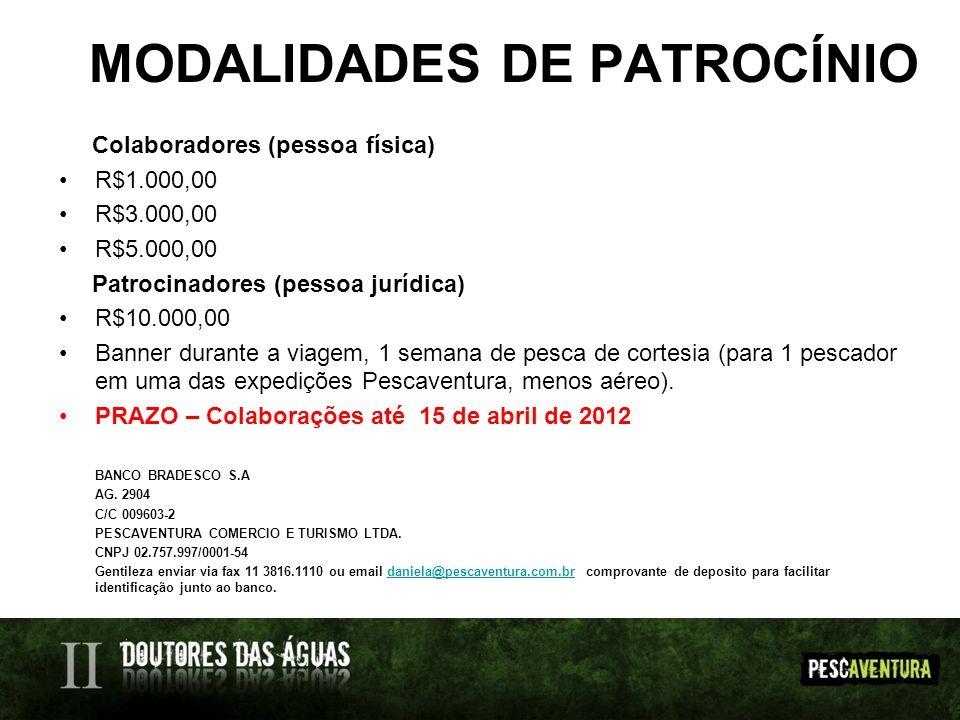 MODALIDADES DE PATROCÍNIO