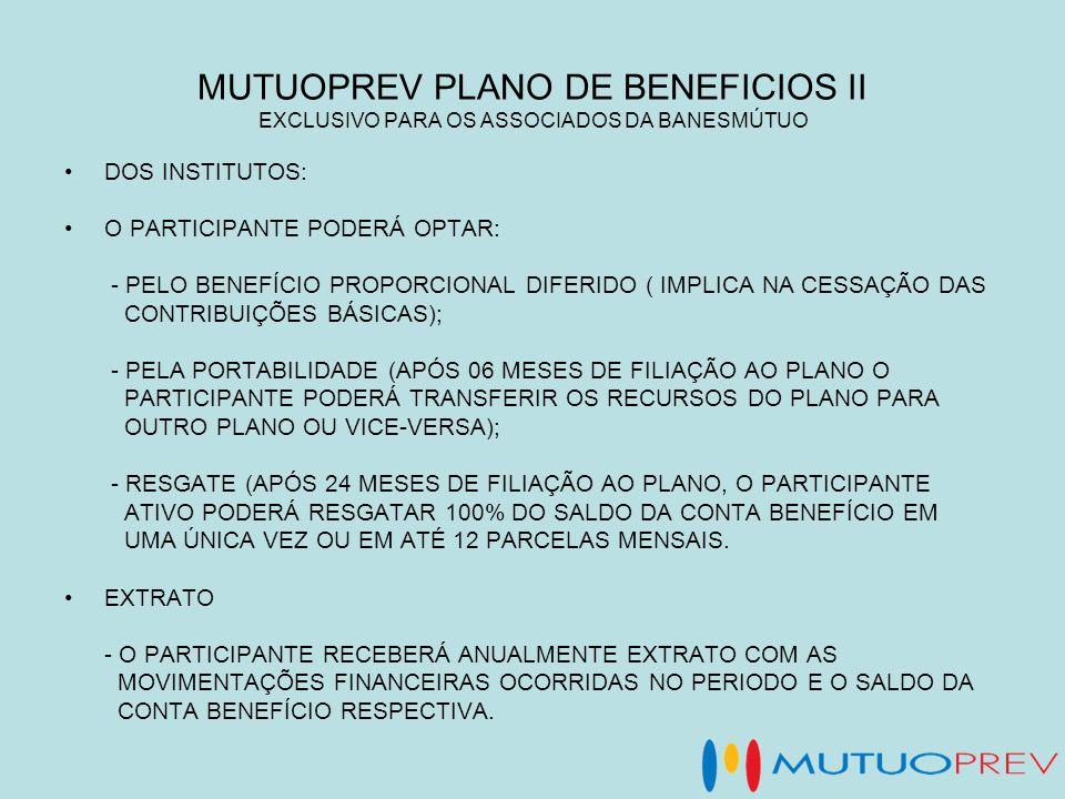 MUTUOPREV PLANO DE BENEFICIOS II EXCLUSIVO PARA OS ASSOCIADOS DA BANESMÚTUO