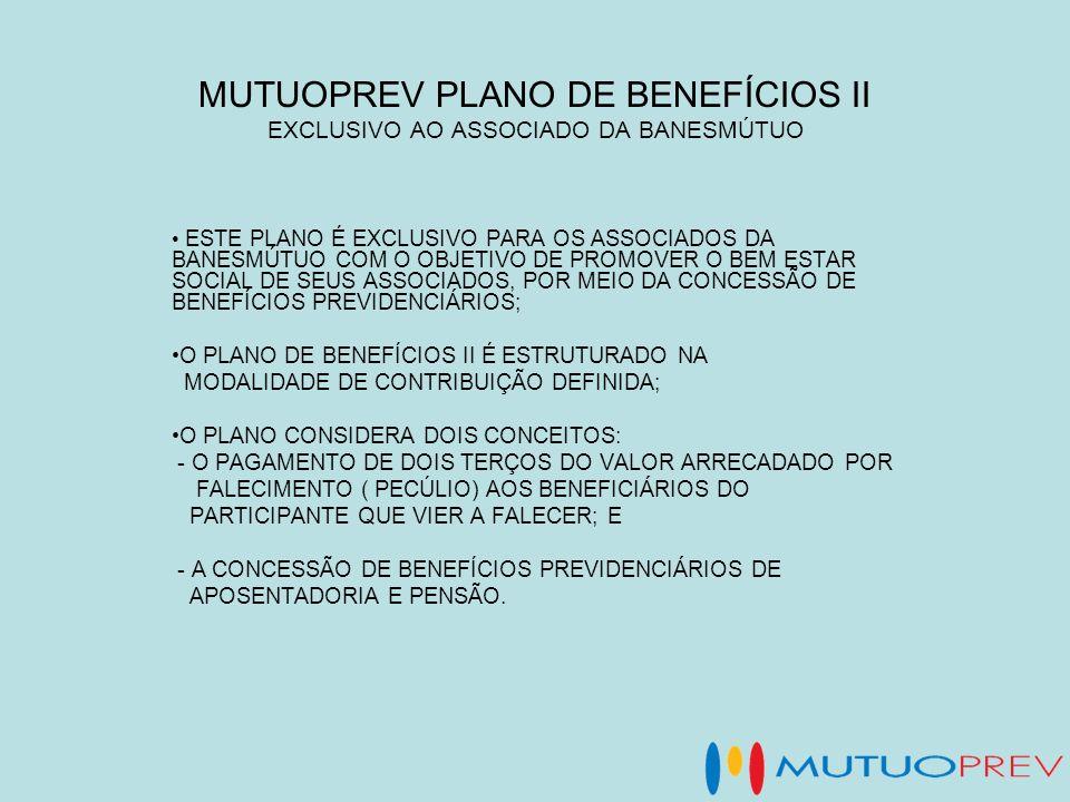 MUTUOPREV PLANO DE BENEFÍCIOS II EXCLUSIVO AO ASSOCIADO DA BANESMÚTUO