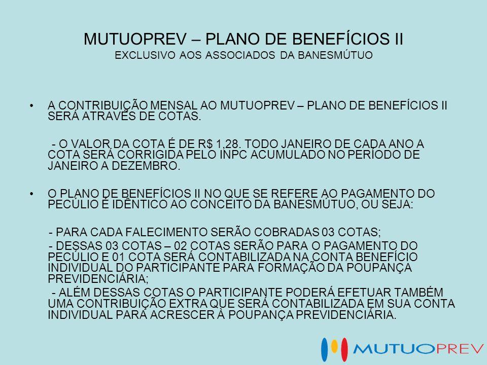 MUTUOPREV – PLANO DE BENEFÍCIOS II EXCLUSIVO AOS ASSOCIADOS DA BANESMÚTUO