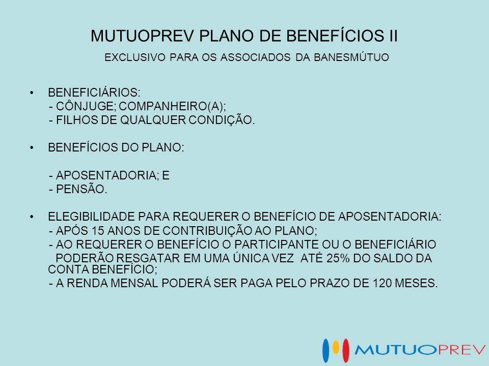MUTUOPREV PLANO DE BENEFÍCIOS II EXCLUSIVO PARA OS ASSOCIADOS DA BANESMÚTUO