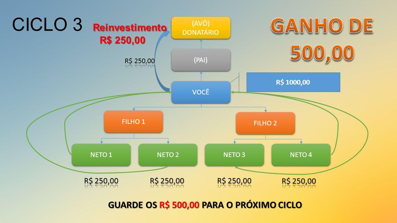 GANHO DE 500,00 CICLO 3 Reinvestimento R$ 250,00