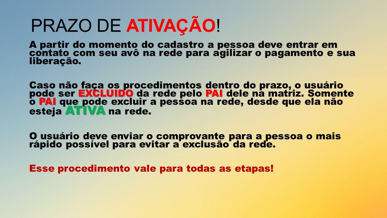 PRAZO DE ATIVAÇÃO!