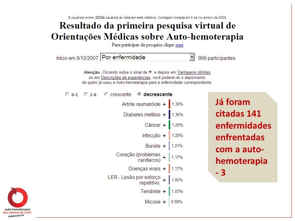 Já foram citadas 141 enfermidades enfrentadas com a auto-hemoterapia - 3