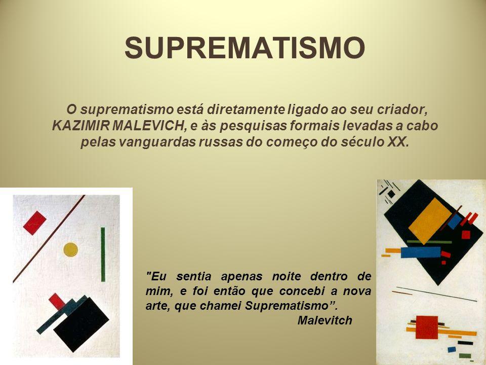 SUPREMATISMO O suprematismo está diretamente ligado ao seu criador, KAZIMIR MALEVICH, e às pesquisas formais levadas a cabo pelas vanguardas russas do começo do século XX.