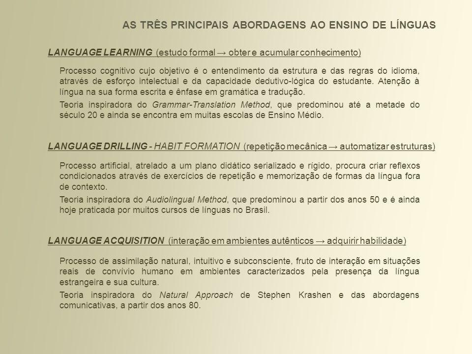 AS TRÊS PRINCIPAIS ABORDAGENS AO ENSINO DE LÍNGUAS