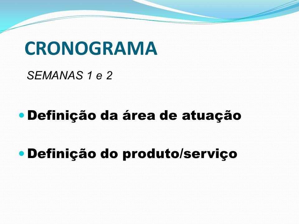 CRONOGRAMA SEMANAS 1 e 2 Definição da área de atuação