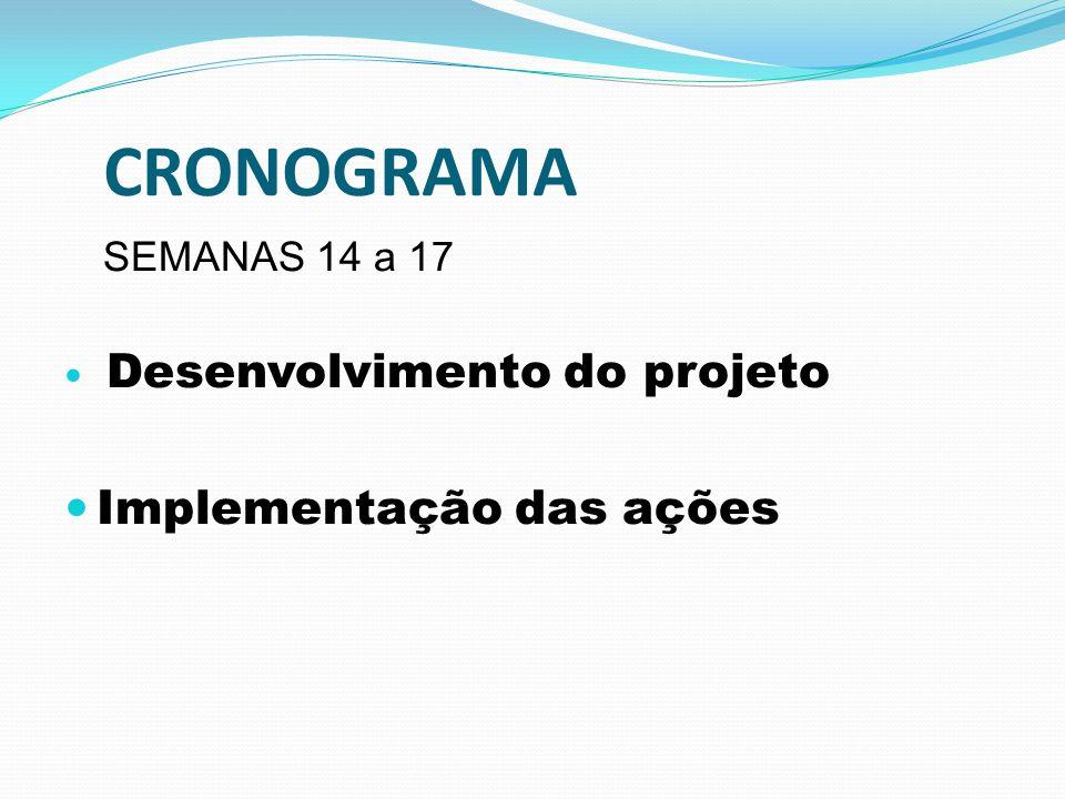 CRONOGRAMA Implementação das ações SEMANAS 14 a 17