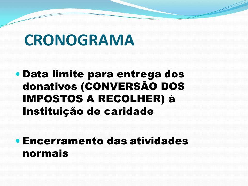 CRONOGRAMA Data limite para entrega dos donativos (CONVERSÃO DOS IMPOSTOS A RECOLHER) à Instituição de caridade.