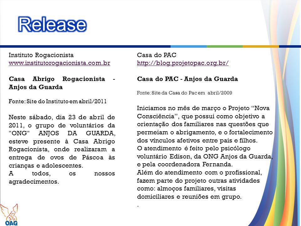 Release Instituto Rogacionista www.institutorogacionista.com.br