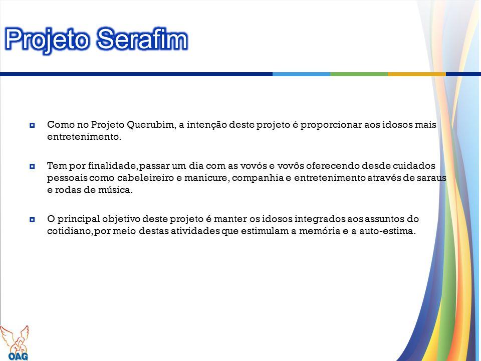 Projeto Serafim Como no Projeto Querubim, a intenção deste projeto é proporcionar aos idosos mais entretenimento.