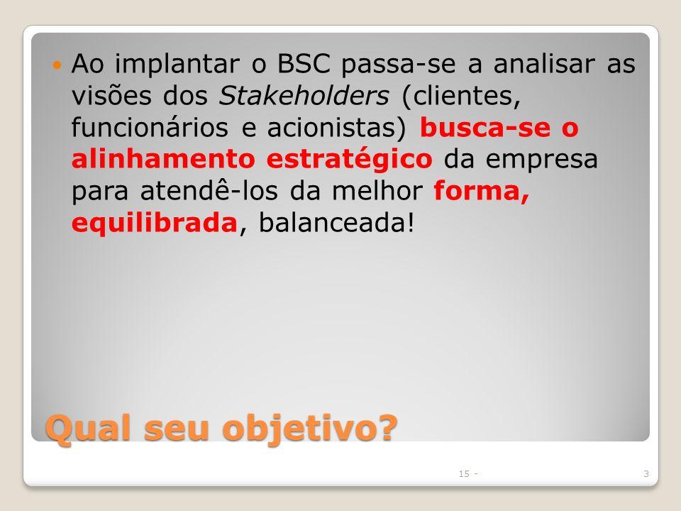 Ao implantar o BSC passa-se a analisar as visões dos Stakeholders (clientes, funcionários e acionistas) busca-se o alinhamento estratégico da empresa para atendê-los da melhor forma, equilibrada, balanceada!