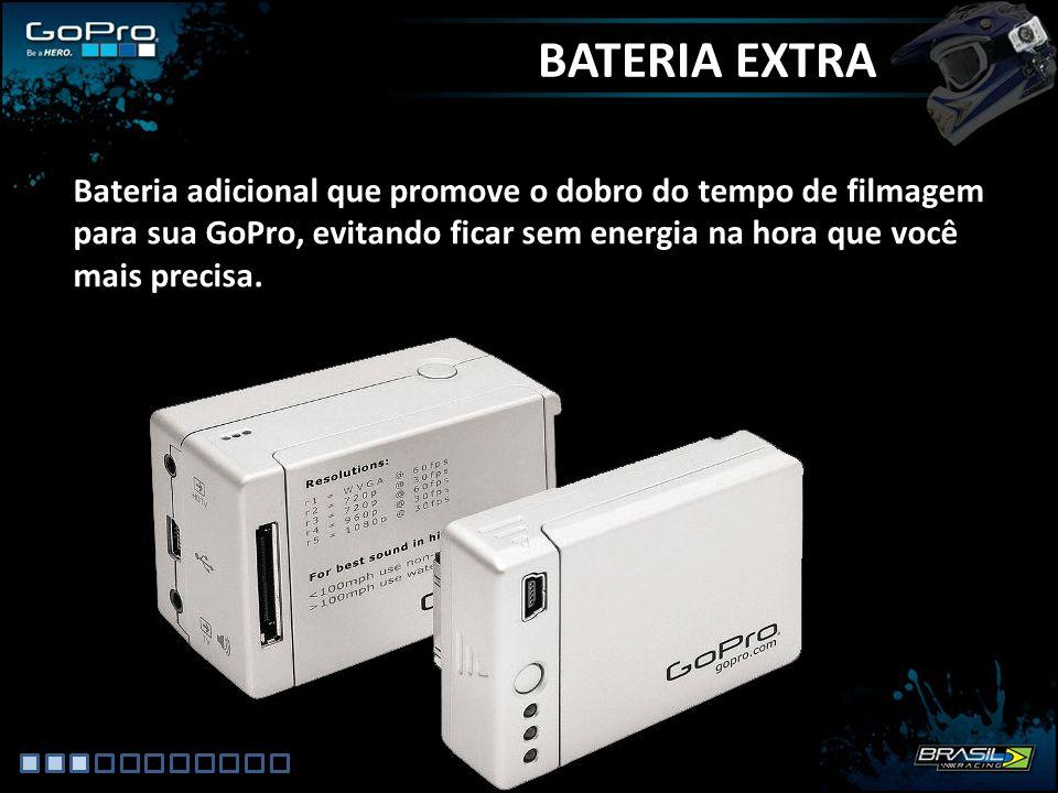 BATERIA EXTRA Bateria adicional que promove o dobro do tempo de filmagem para sua GoPro, evitando ficar sem energia na hora que você mais precisa.