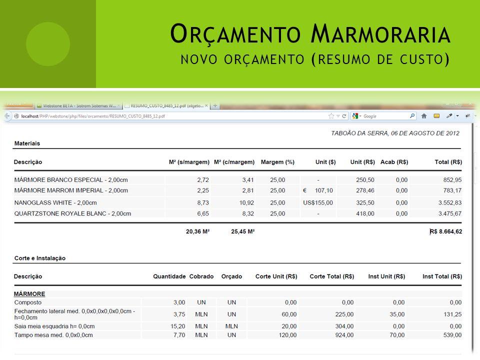 Orçamento Marmoraria novo orçamento (resumo de custo)