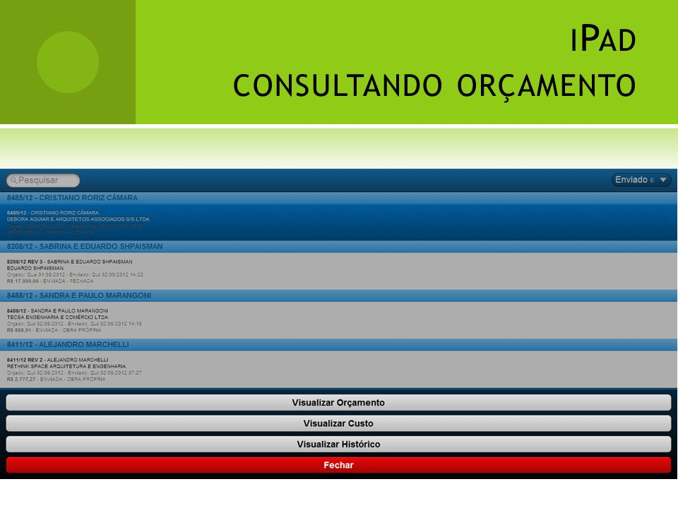 iPad consultando orçamento
