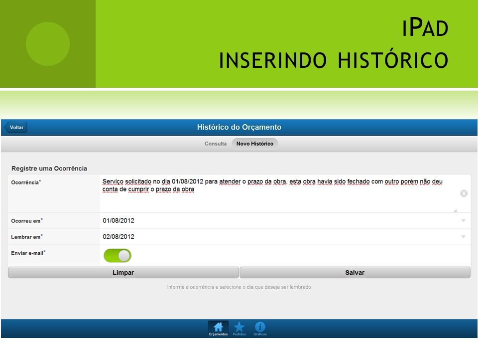 iPad inserindo histórico