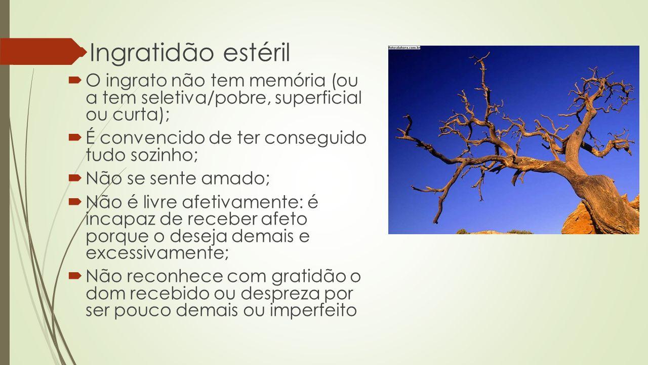 Ingratidão estéril O ingrato não tem memória (ou a tem seletiva/pobre, superficial ou curta); É convencido de ter conseguido tudo sozinho;