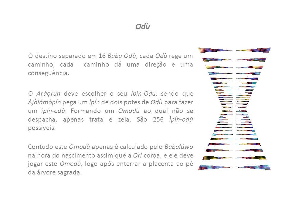 Odù O destino separado em 16 Baba Odù, cada Odù rege um caminho, cada caminho dá uma direção e uma conseguência.