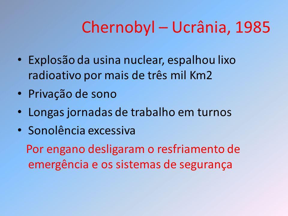Chernobyl – Ucrânia, 1985 Explosão da usina nuclear, espalhou lixo radioativo por mais de três mil Km2.