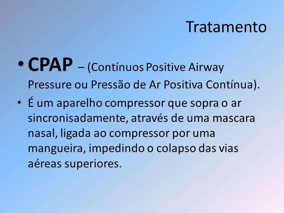 Tratamento CPAP – (Contínuos Positive Airway Pressure ou Pressão de Ar Positiva Contínua).