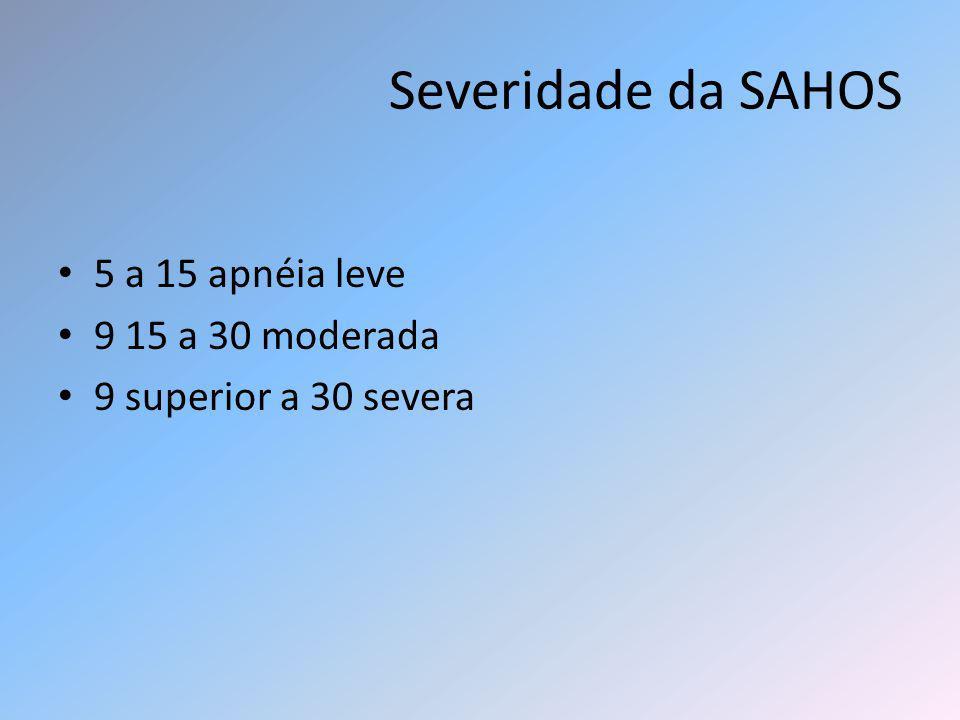 Severidade da SAHOS 5 a 15 apnéia leve 9 15 a 30 moderada