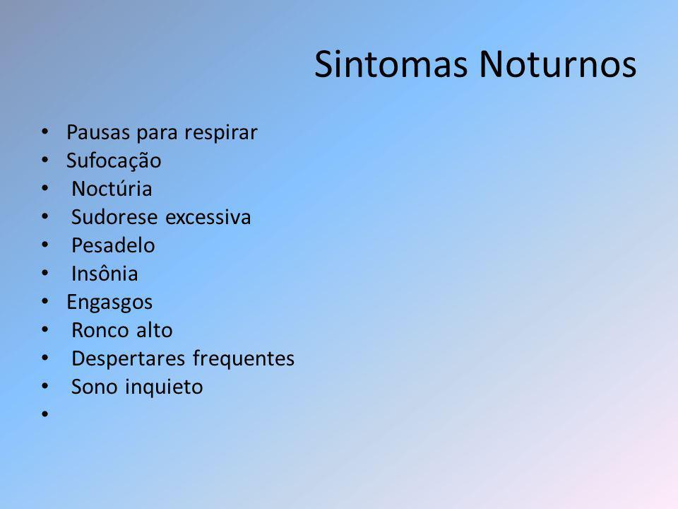 Sintomas Noturnos Pausas para respirar Sufocação Noctúria