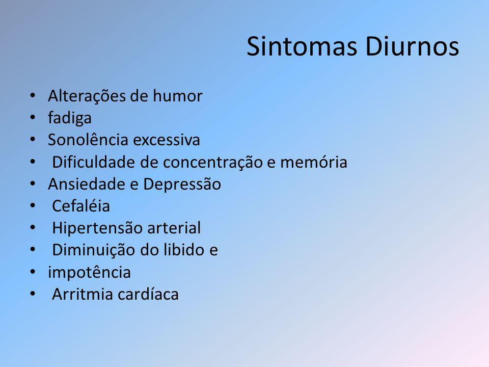Sintomas Diurnos Alterações de humor fadiga Sonolência excessiva