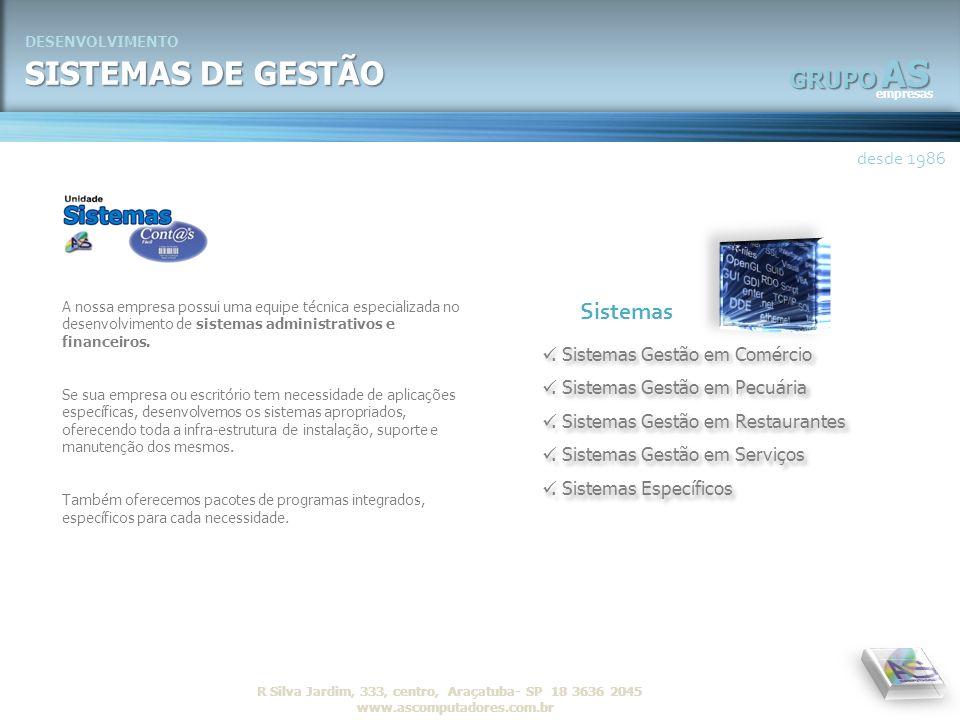 AS SISTEMAS DE GESTÃO GRUPO Sistemas desde 1986