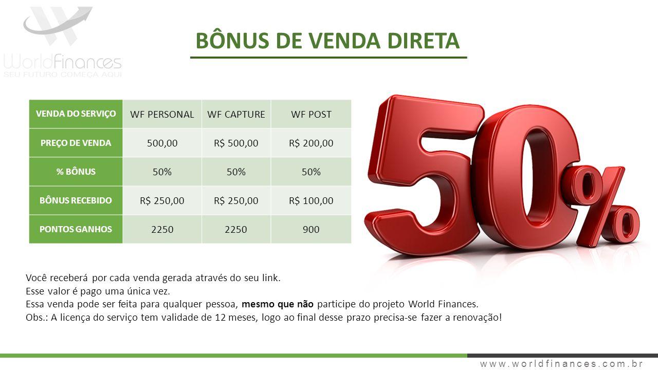 BÔNUS DE VENDA DIRETA WF PERSONAL WF CAPTURE WF POST 500,00 R$ 500,00