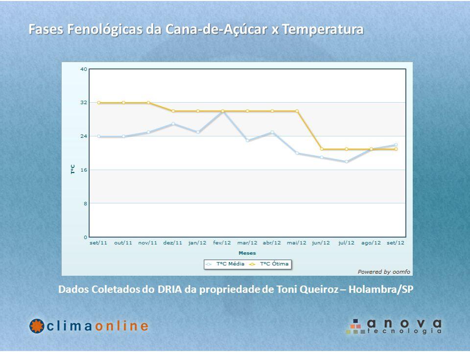 Fases Fenológicas da Cana-de-Açúcar x Temperatura