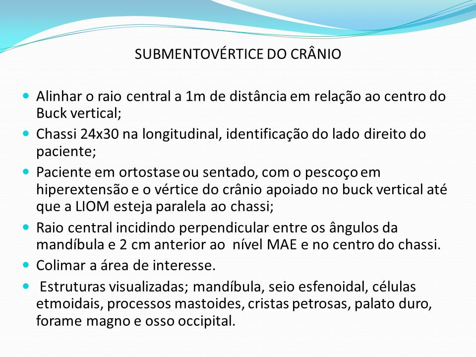 SUBMENTOVÉRTICE DO CRÂNIO