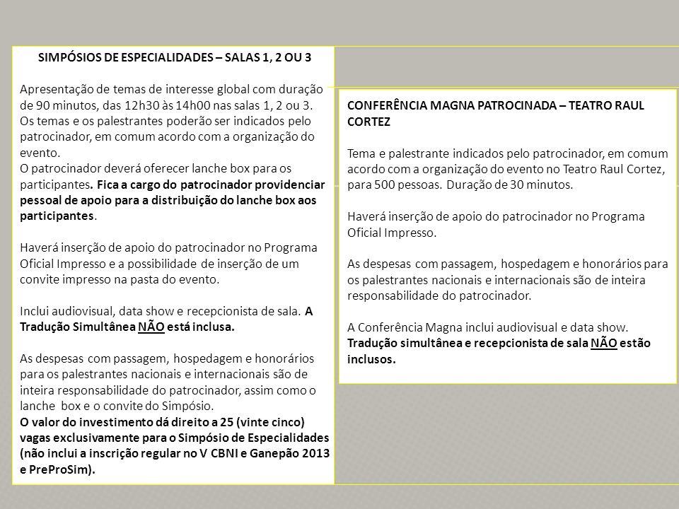 SIMPÓSIOS DE ESPECIALIDADES – SALAS 1, 2 OU 3